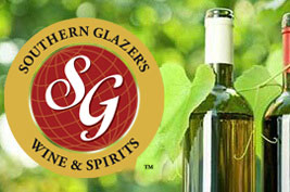 Southern Glazer's Wine And Spirits logo and two bottles of wine in vineyard