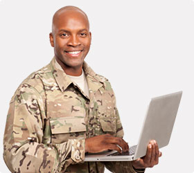 Soldier holding a laptop