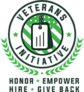 A badge that says 'Veterans Initiative - Honor, Empower, Hire, Give Back'