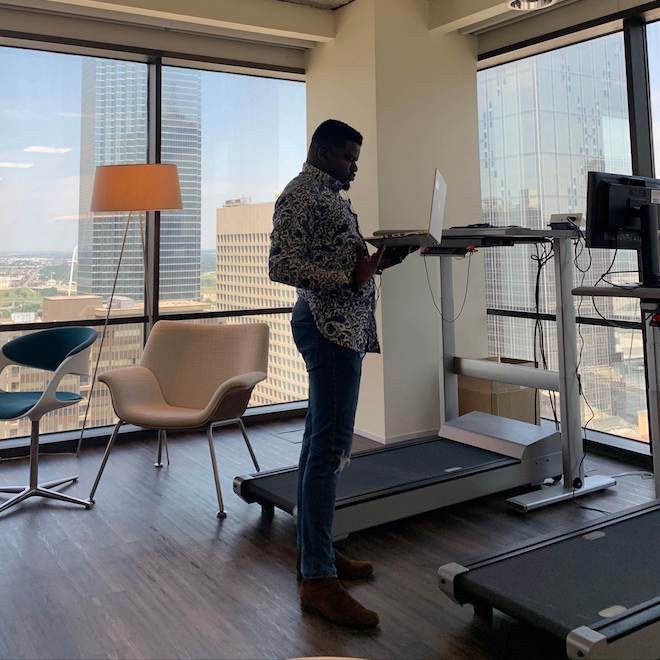 abraham standing by treadmill