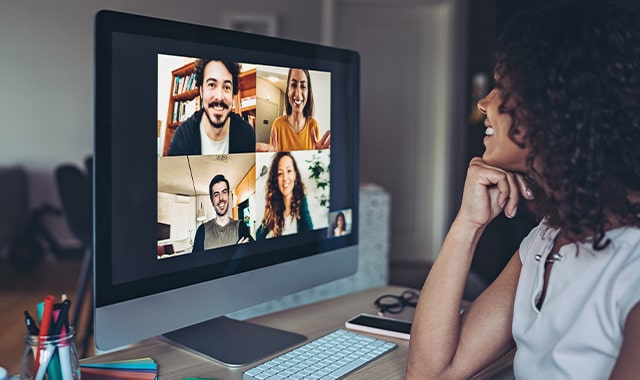Group of people having video conference from home