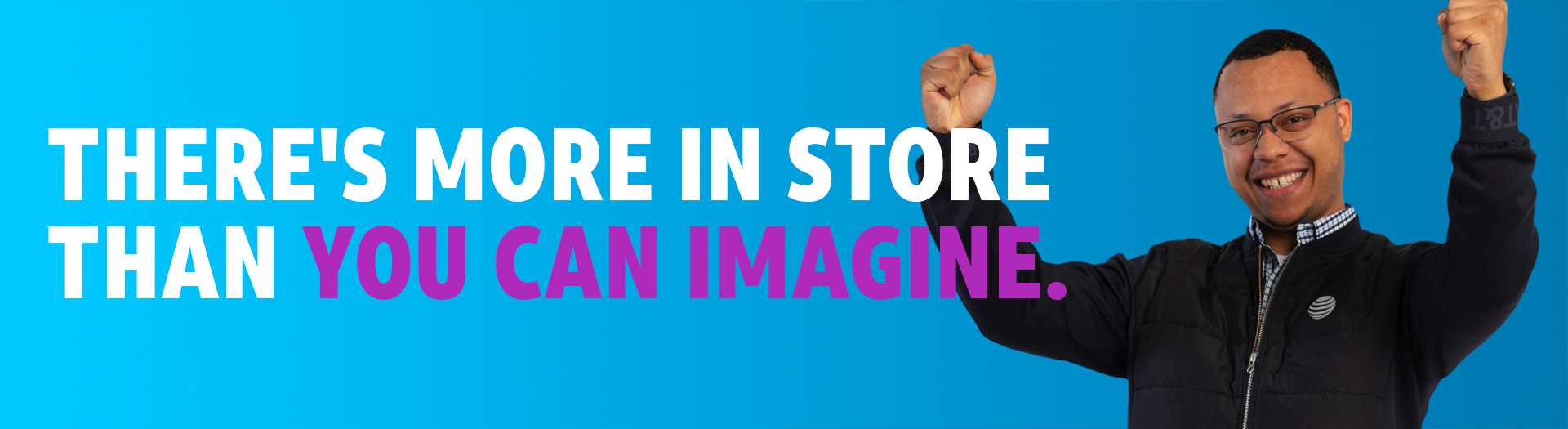 There's more in store than you can imagine. Image: Male retail employee with hands in air smiling.