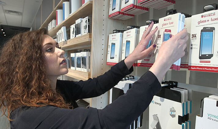 Woman organizing a shelf