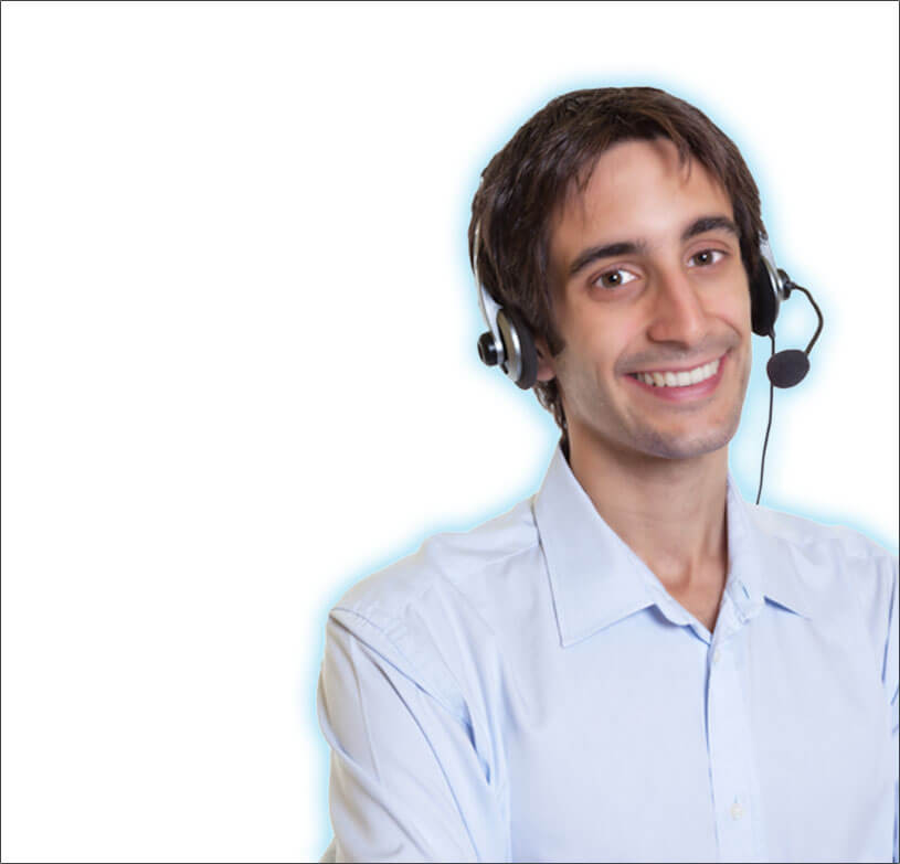 Male employee with headset on and smiling