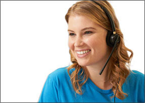 Female employee with headset on and smiling