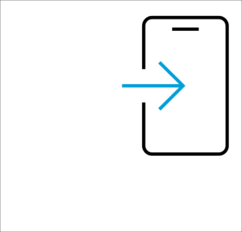 Cell phone icon with arrow pointing to screen