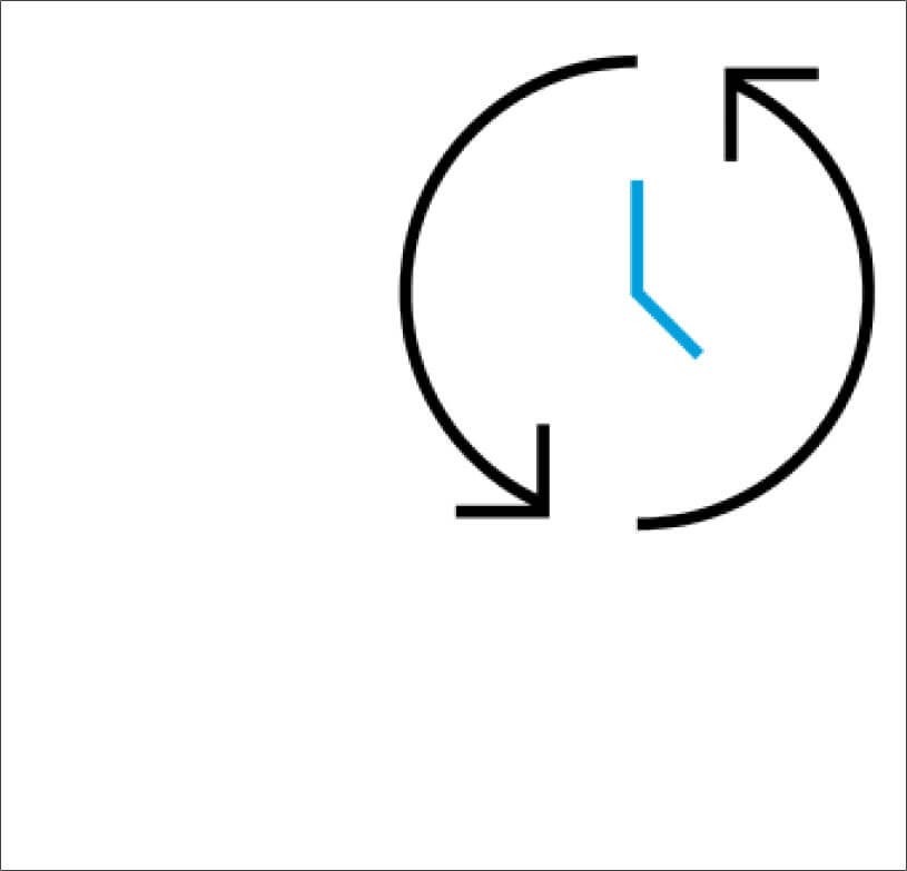 Clock icon with arrows going around in a circle