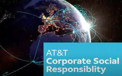 Earth showing AT&T connectivity around the world