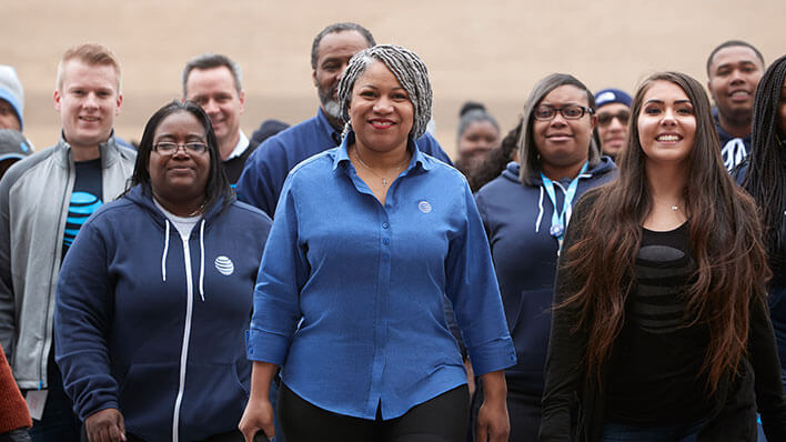 AT&T Employees standing together and smiling