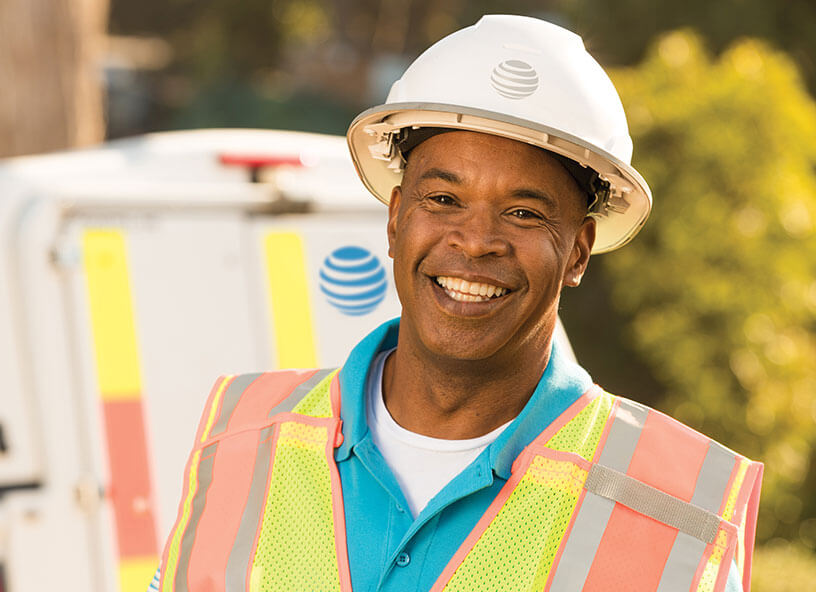 AT&T technician smiling