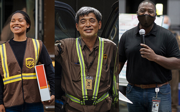 3 diverse UPS employees as part of a collage