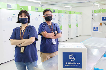 Man and woman posing with face masks and arms crossed