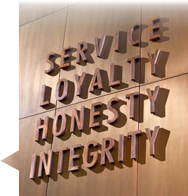 service, loyalty, honesty, integrity