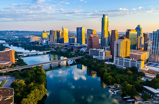 Tall buildings and river showcasing downtown in Austin, Texas