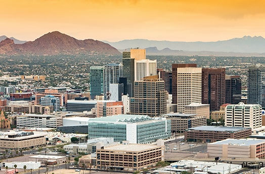 Tall buildings showcasing the skyline of Phoenix, Arizona