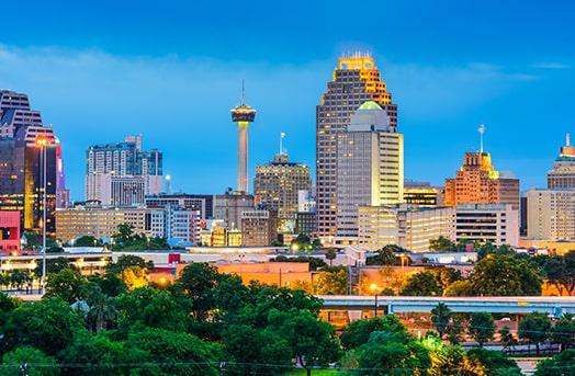 Tall buildings showcasing the skyline of San Antonio, Texas
