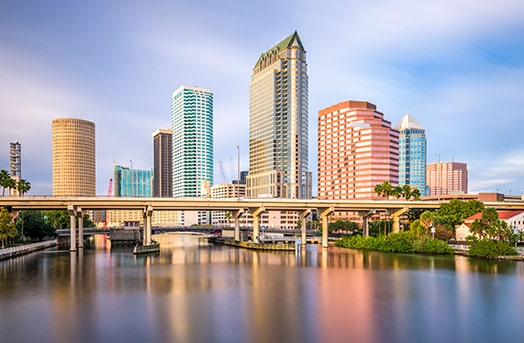 Tall buildings showcasing the skyline of Tampa, Florida
