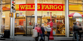 A Wells Fargo store front in a big city