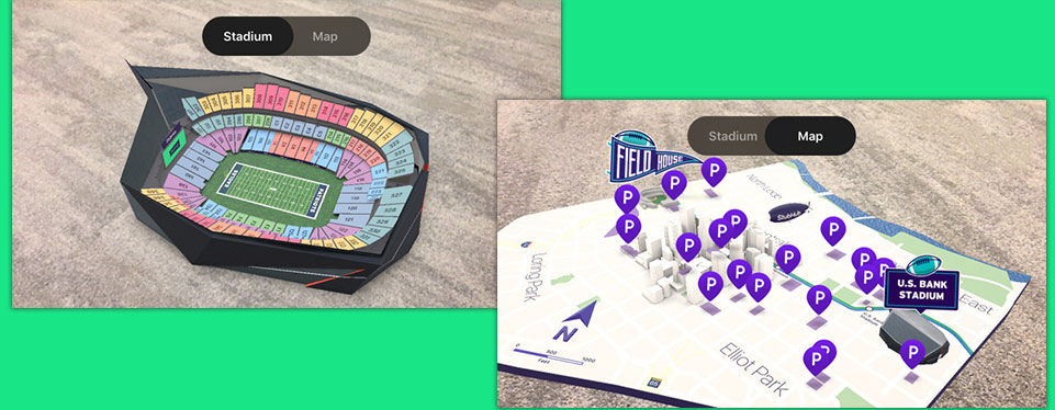 Screenshots of an event map projected to a user with 3D Augmented Reality
