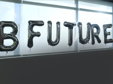 Related Content: B Future banner on window glasses