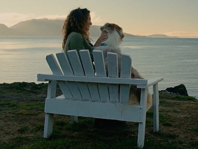 Related Content: A girl and a dog sitting on bench near water