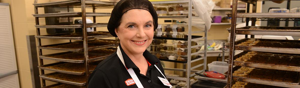 Baker in kitchen
