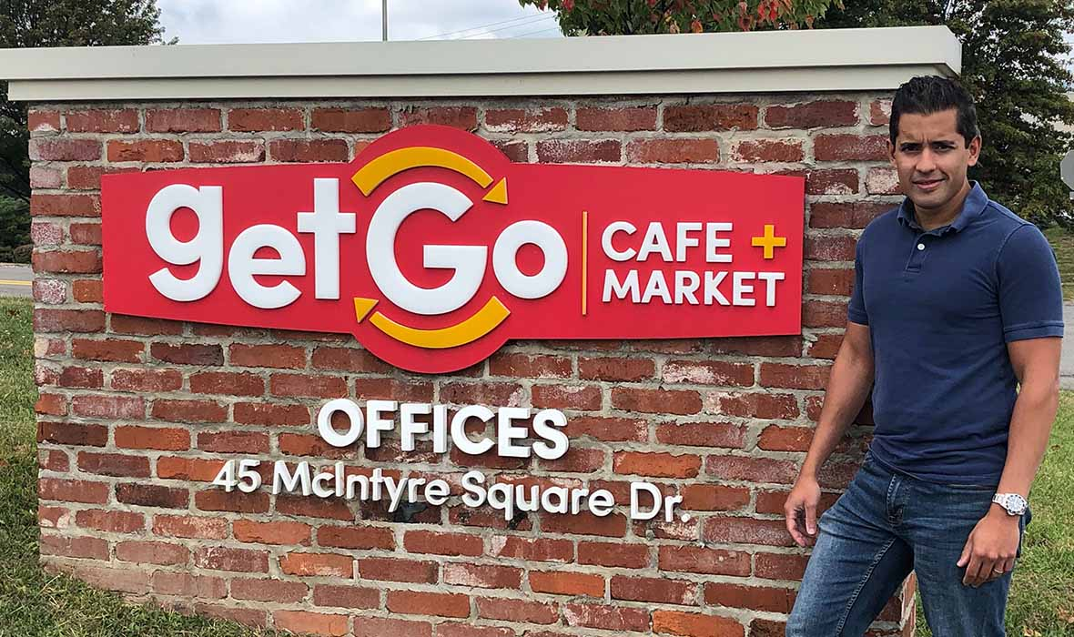 Rug with GetGo sign at the GetGo Headquarters