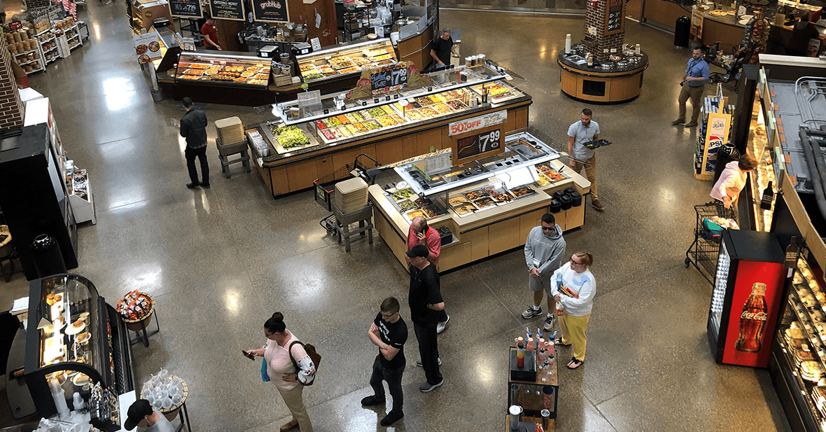 Aerial View of Prepared Foods and Starbucks Departments