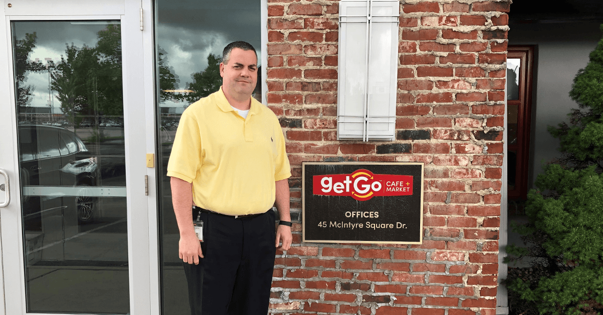 Jon in front of GetGo HQ