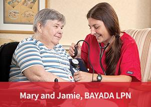 Photo of BAYADA Client Mary W. and BAYADA Licensed Practical Nurse Jamie Hughes