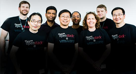 A group of Vmware engineers gather for a group photo.