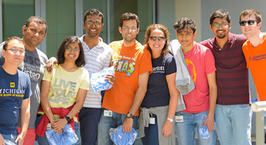 Students gather next to one another for a group photo at the VMware Corporate Headquarters.
