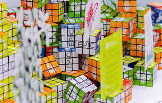 Rubik cubes branded with the EPIC2 logo.