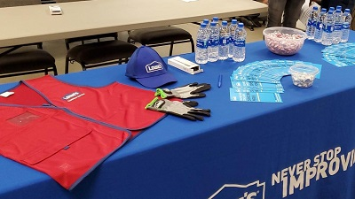 lowe's gear on blue table