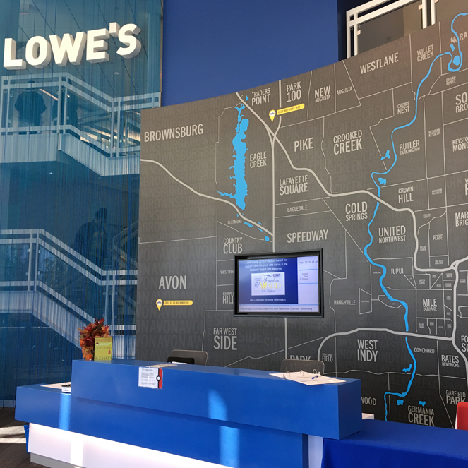 Our Lowe s Customer Support Center in Indianapolis  IN was inspired by  local geography  including the White River  This is apparent throughout the  facility. Cool Workspaces   Lowe s