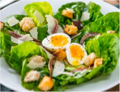 Plate of salad and eggs
