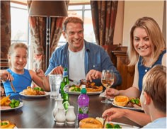 A family of four having a meal
