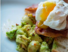 Sliced avocado and eggs on  a plate