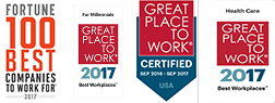 Awards: Fortune 100 Best Companies to Work For - 2017 and multiple 2016 Best Workplaces