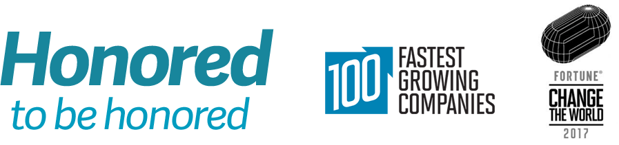Honored to be Honored logo, 100 Fastest Growing Companies, and Fortune Change the World 2017