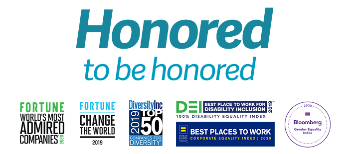 Honored to be Honored logo, Forbes 2018 - Global Growth Champions 2000, Fortune 100 Fastest Growing Companies 2018, Human Rights Campaign Foundation 2018 - Best Places to Work for LGBTQ Equality - 100% Corporate Equality Index, Fortune - World's Most Admired Companies 2019, Bloomberg - 2019 Gender-Equality Index