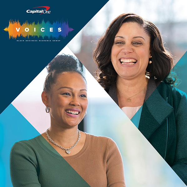 Two women smiling, talking about VOICES, the Black Business Resource Group at Capital One