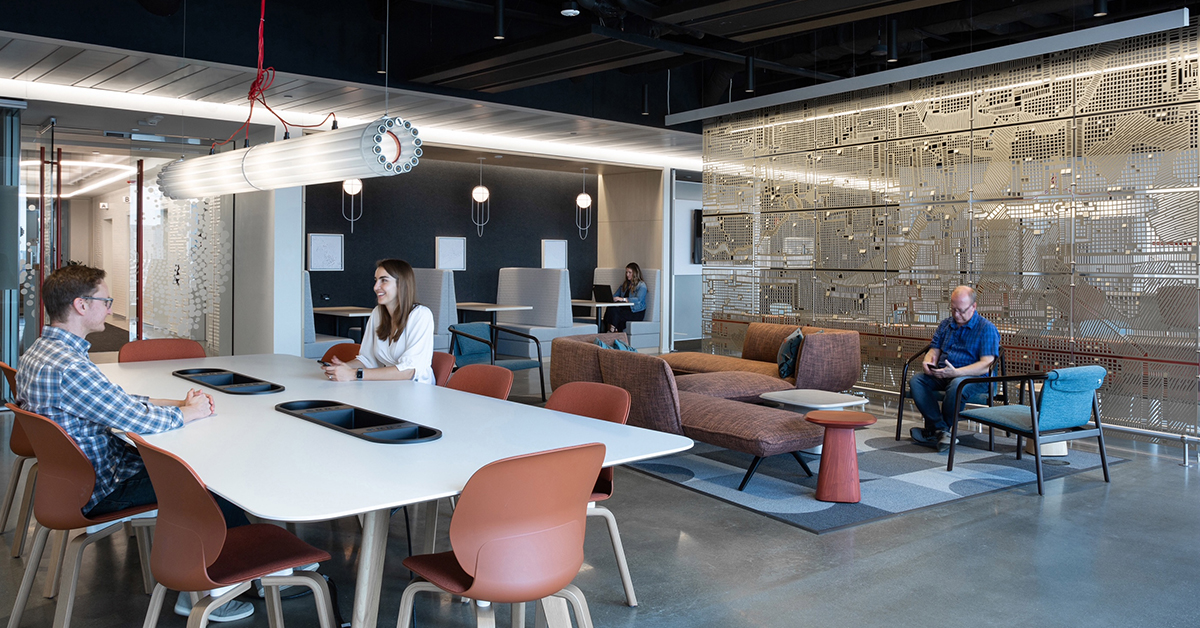An open seating area inside Capital One