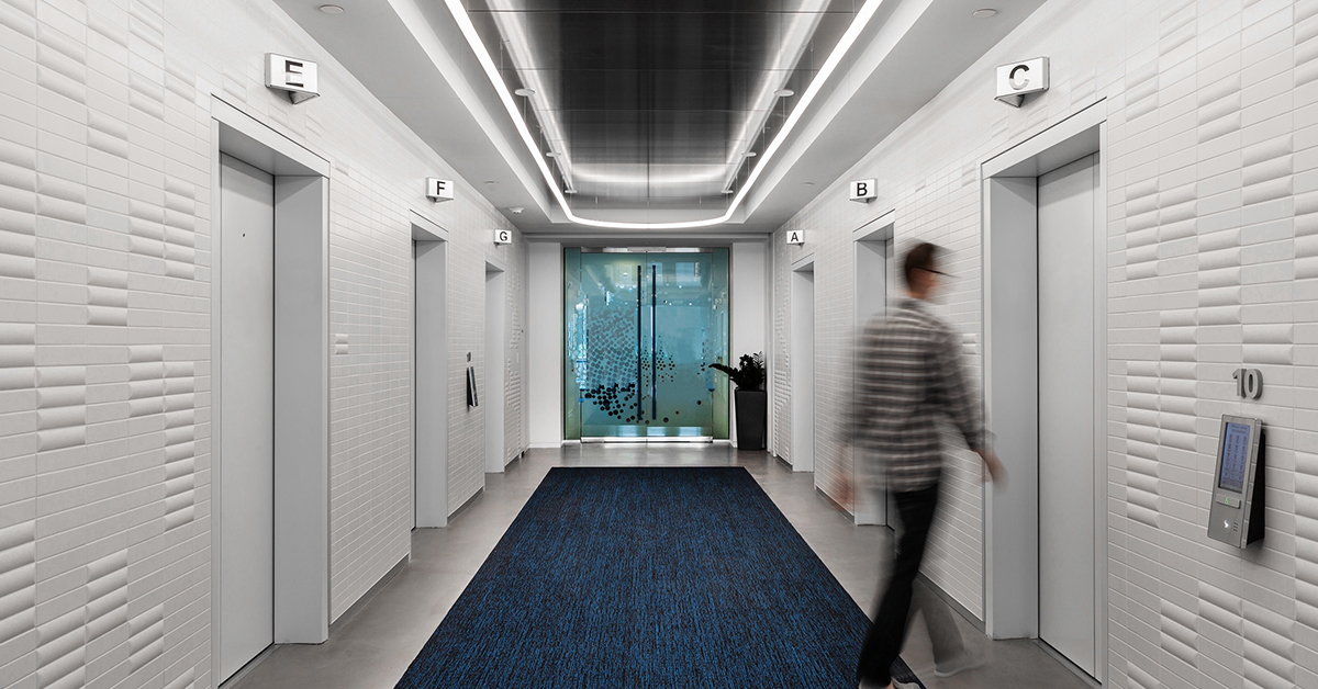 The elevators inside Capital One