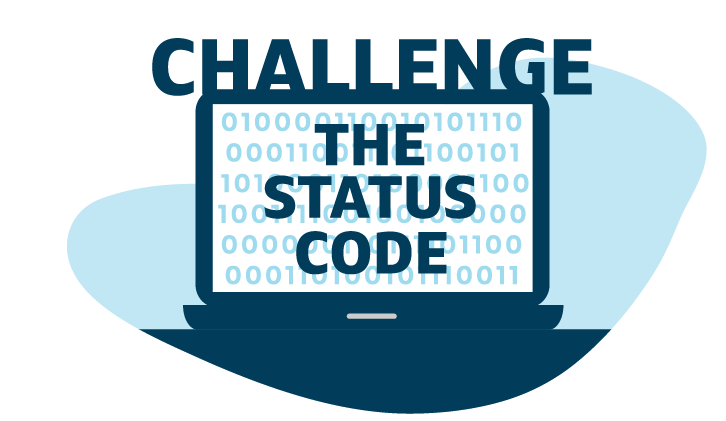 """Capital One blue illustration of a laptop that says """"Challenge the Status Code"""""""