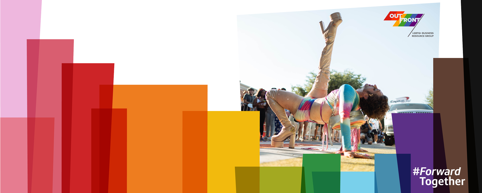 Colorful Pride month design treatment on an image of a Capital One associate showing off their dance moves in heels celebrating Pride month