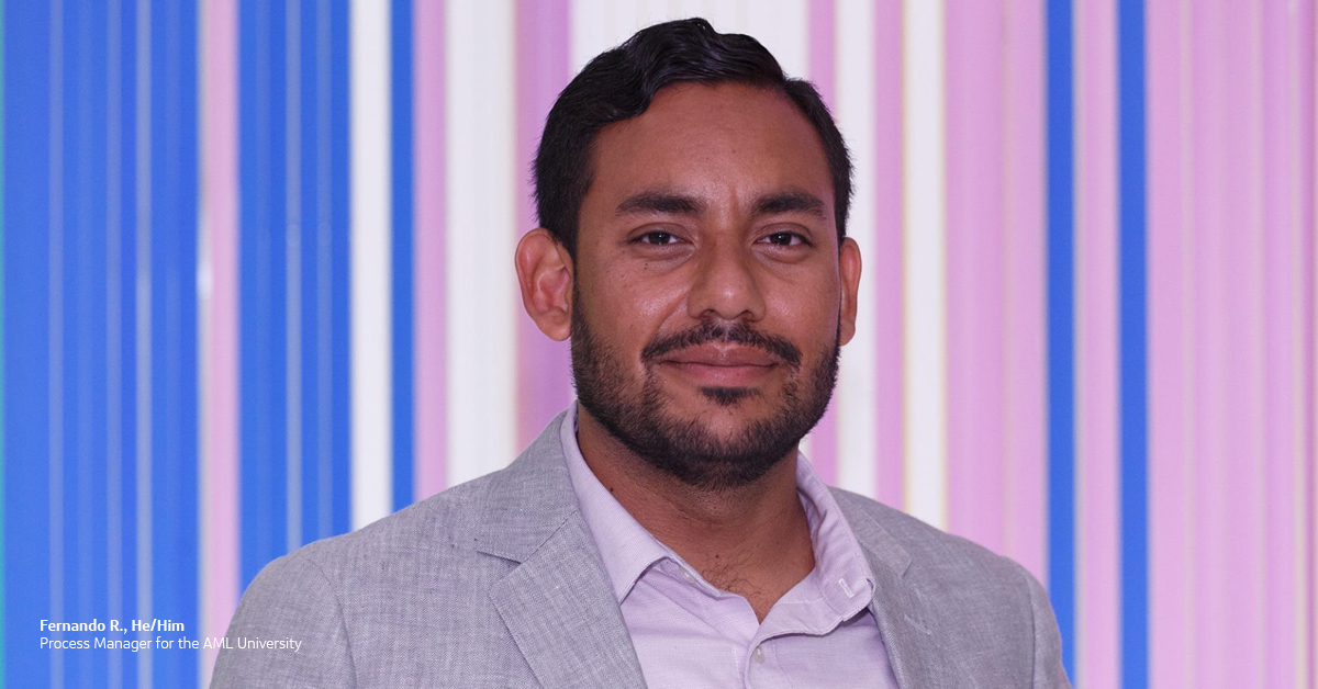 Capital One associate Fernando R., He/Him, Process Manager for the AML University, standing in front of a pink and blue background