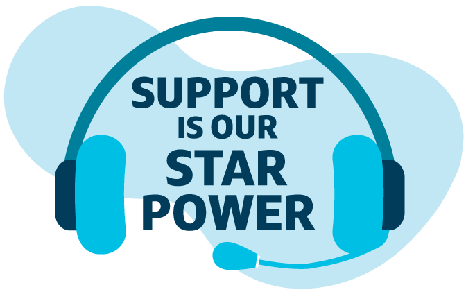 """Blue illustrated graphic of a headset that says """"support is our star power"""" referring to customer care associates at Capital One"""