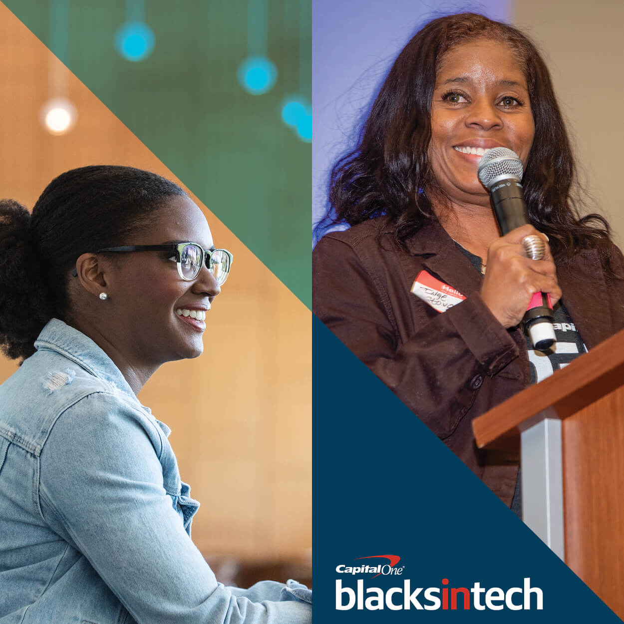 Women smiling, representing how Blacks in Tech at Capital One creates an inclusive community of technologists to help associates grow and thrive