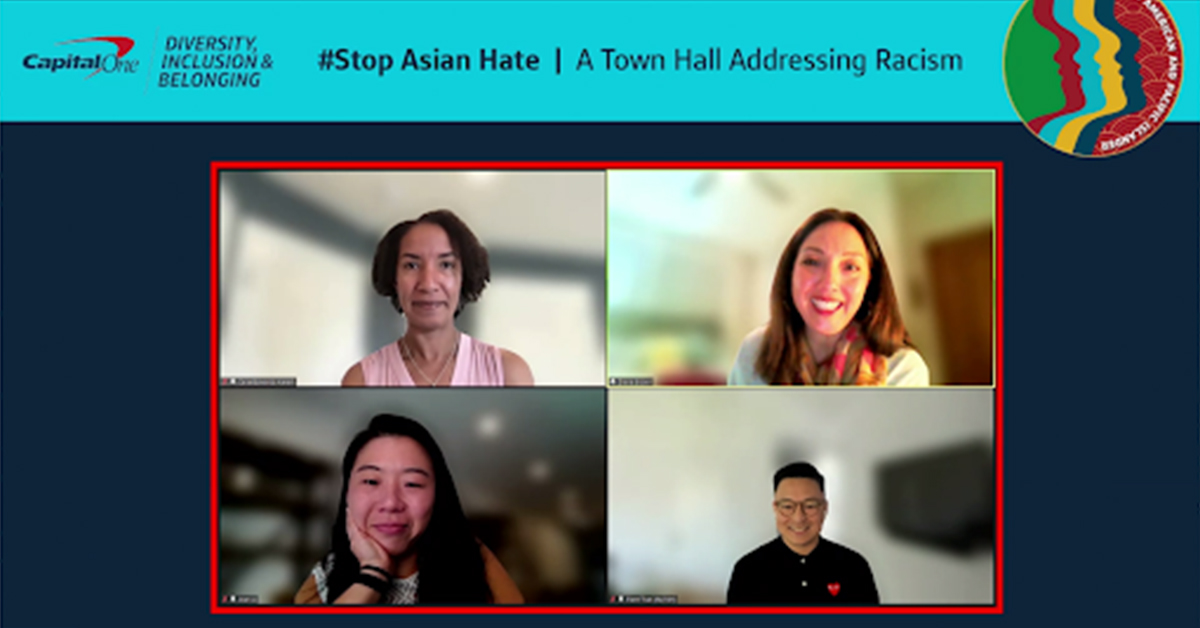 Capital One leaders gathered remotely in a Town Hall for the initiative to #StopAsianHate